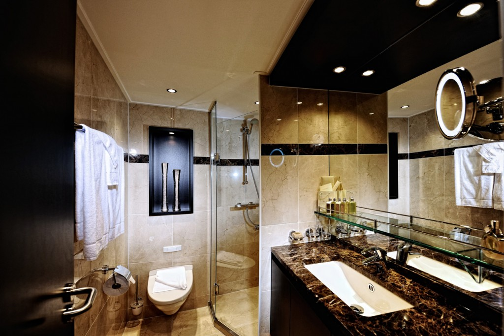 Because of the design, Avalon Waterways bathroom are spacious.